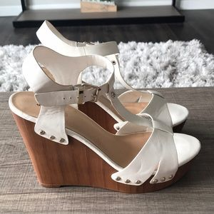 Women's White and Wood Wedges